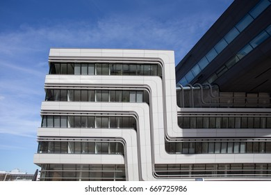 November 8, 2015: Details of the Library and Learning Centre at the University of Economics in Vienna, Austria. The building was designed by the famous architect Zaha Hadid.