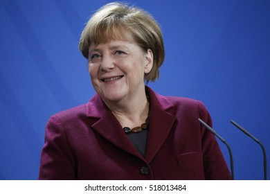 NOVEMBER 8, 2016 - BERLIN: German Cancellor Angela Merkel at a press conference after a meeting with the Prime Minister of Norway, Federal Chanclery.