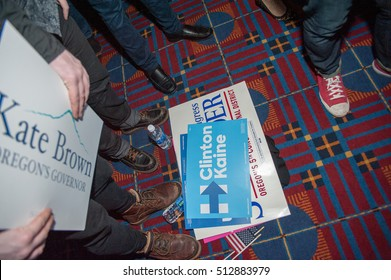 November 8, 2016: Clinton/Kain signs on the floor at the Convention Center for the Democratic Party election night head quarters in. Portland, OR.