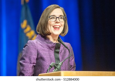 November 8, 2016: Kate Brown gives her victory speech at the Convention Center for the Democratic Party election night head quarters in. Portland, OR.