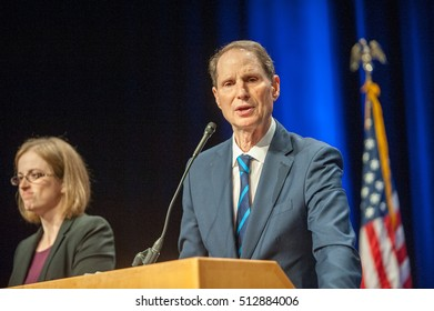 November 8, 2016: Ron Wyden victory speech in his reelection speech at the Convention Center for the Democratic Party election night head quarters in. Portland, OR.