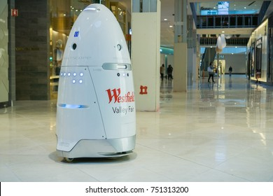November 8, 2017 San Jose/CA/USA - Knightscope security robot patrolling Westfield Valley Fair Mall, Silicon Valley, San Francisco bay