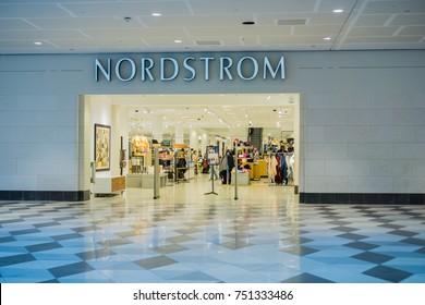 November 8, 2017 San Jose/CA/USA - Nordstrom department store entrance at Westfield Valley Mall, San Francisco bay area