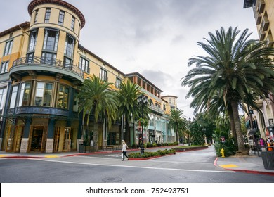 November 8, 2017 San Jose/CA/USA - Buildings and palm trees  in the shopping district Santana Row, San Francisco bay area, California