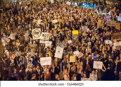 November 9, 2010: 2000 people march in Portland, OR, during the second night of protests over the victory of Donald Trump in US presidential election.