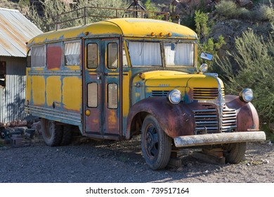 November 9, 2015 Nelson, Nevada, USA: old schooll bus at the abandoned mining ghost town a popular tourist attraction