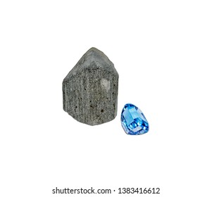 november birthstone, topaz with shorl, isolated on white background