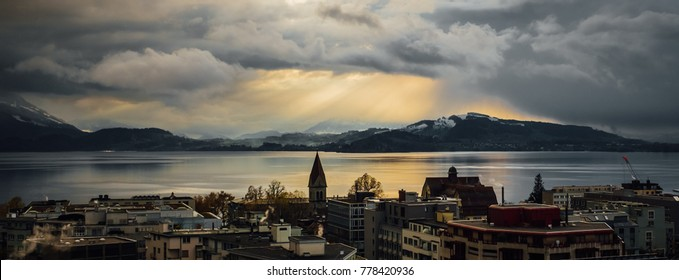 November light over lake of Zug, Switzerland