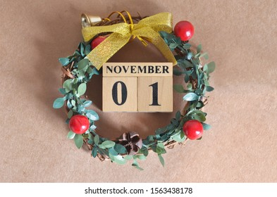 November month, Christmas, Birthday with number cube design for background. Date 1.