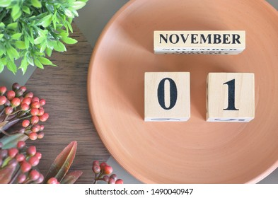 November month design with flower and earthenware, 1.