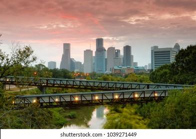 November Sunrise Over Downtown Houston - Southeast Texas Harris County
