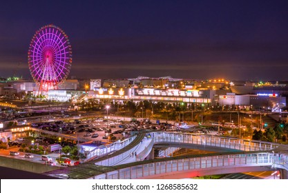 Novermber 24, 2018, Odaiba, Tokyo, Japan - Odaiba metropolitan, cityscape night view and traffic of Odaiba Tokyo, Japan with selective focus.