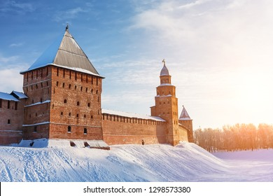 Novgorod Kremlin in cold snowy day in Veliky Novgorod, Russia. Winter landscape of Novgorod the Great.