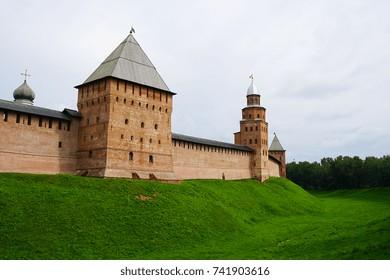 Novgorod Kremlin's redbrick fortress walls