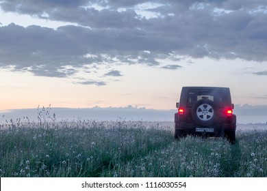 Novgorod region. Russia. 03 June, 2018: A Jeep Wrangler in the field