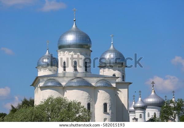 Novgorod, Russia, June, 03, 2016. Russian scene: Pokrovsky Cathedral in Zverin-Pokrovsky monastery in Novgorod