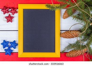 Novgorodny frame and fir-tree jewelry on white and red boards