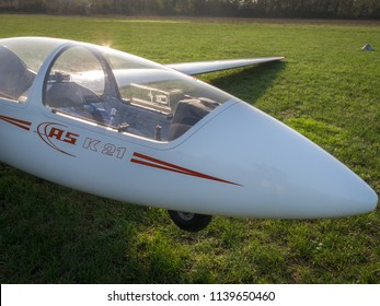 Novi Ligure, Alessandria, Italy - November 12 2011: cockpit closeup of ASK-21 sailplane (glider) on a grass runway of local airfield. Gliders fly (soar) without engine