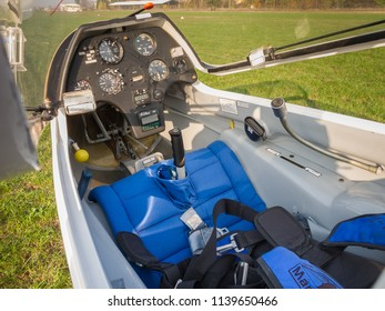 Novi Ligure, Alessandria, Italy - November 12 2011: cockpit with flight dashboard closeup of ASK-21 sailplane (glider) on grass runway of local airfield. Gliders fly (soar) without engine