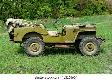 Novi Petrivtsi, Ukraine - May 13, 2007.  Willys MB jeep standing on the field grassy