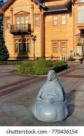 Novi Petrivtsi, Ukraine - September 22, 2017: Copy of Homunculus loxodontus, a statue by Dutch artist Margriet van Breevoort, installed in Mezhyhirya Residence of Ukrainian ex-president Viktor Yan