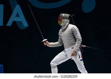NOVI SAD - JUNE 21: EUROPEAN FENCING CHAMPIONSHIP - SENIORS TEAM MALE, SABRE - Germany - Romania, June 21 2018, Novi Sad, Serbia