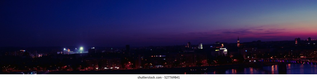 Novi Sad panorama of city and bridge at night
