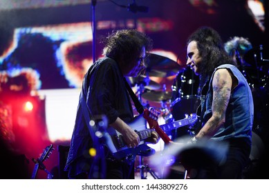Novi Sad, Serbia - 04 July 2019: Performing of the Cure (Robert Smith and Simon Gallup at picture) at Main Stage at Exit festival, started on 4th of July on Petrovaradin fortress in Novi Sad, Serbia
