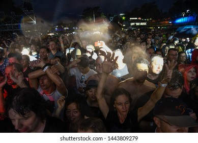 Novi Sad, Serbia - 04 July 2019: Fans during the Cure performing at Main Stage at Exit festival. The 19th Exit festival with the theme of Tribe started at Petrovaradin fortress on 4th of July, 2019.