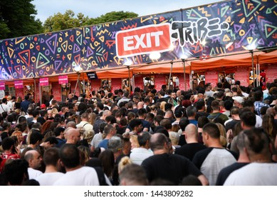Novi Sad, Serbia - 04 July 2019: Visitors arriving to Exit festival. The 19th Exit festival with the theme of Tribe started at Petrovaradin fortress on 4th of July, 2019.