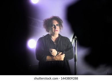 Novi Sad, Serbia - 04 July 2019: Performing of the Cure (Robert Smith at picture) at Main Stage at Exit festival. The 19th Exit festival with the theme of Tribe started at Petrovaradin fortress.