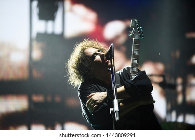 Novi Sad, Serbia - 04 July 2019: Performing of the Cure (Robert Smith at picture) at Main Stage at Exit festival. The 19th Exit festival with the theme of Tribe started at Petrovaradin fortress