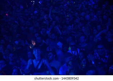 Novi Sad, Serbia - 04 July 2019: Visitors at Dance Arena during Exit festival. The 19th Exit festival with the theme of Tribe started at Petrovaradin fortress on 4th of July, 2019.