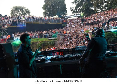 Novi Sad, Serbia - 04 July 2019: Carl Cox and Maceo Plex perform at Dance Arena during sunrise. The 19th Exit festival with the theme of Tribe started at Petrovaradin fortress on 4th of July, 2019.