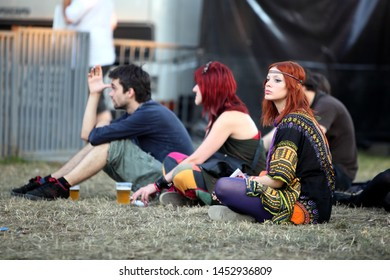 NOVI SAD, SERBIA - 10 JULY 2010: Girl in front of the Main Stage before Klaxon's performance at the Music Festival - EXIT 2010, 10 July 2010 at the Petrovaradin Fortress in Novi Sad, Serbia.