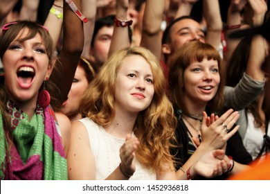 NOVI SAD, SERBIA - 11 JULY 2010: Girl infront of the Main Stage during Missy Elliott's performance at the Music Festival- EXIT 2010, 11 July 2010 at the Petrovaradin Fortress in Novi Sad,Serbia.
