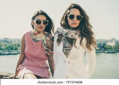 Novi Sad, Serbia - April 02, 2017: Beautiful young women enjoy on a sunny day. Illustrative editorial