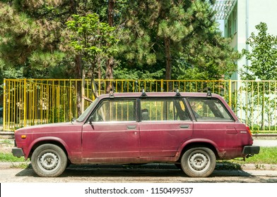 Novi Sad, Serbia. August - 05. 2018. Old Russian or Soviet Lada Riva caravan car parked on the street in the city. Editorial image.