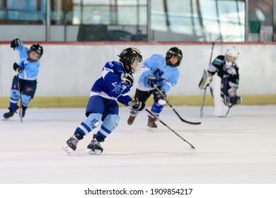 Novi Sad, Serbia - December, 05, 2020: Youth ice hockey team from Novi Sad on training
