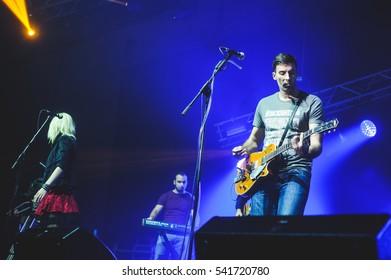 Novi Sad, Serbia - December 12th: Pop band Nicim Izazvan performing on Koncert Godine 2015, in Novi Sad, Serbia