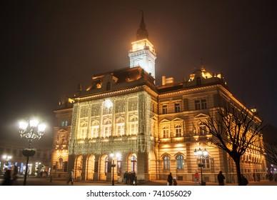 Novi Sad, Serbia - December 14, 2015: City Square in Novi Sad, for the New Year.
