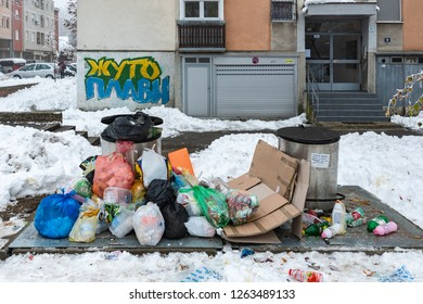 Novi Sad, Serbia - December 18, 2018: Garbage problems with snow in Serbia
