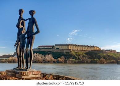 Novi Sad, Serbia- December 24, 2017: Monument to the victims of the Shoah and Petrovaradin Fortress in Novi Sad, Serbia