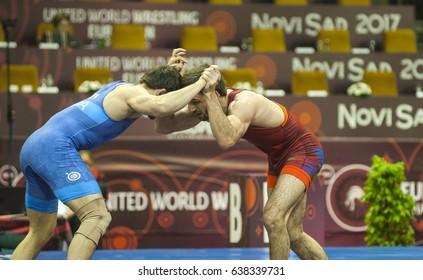 Novi Sad, Serbia, European Wrestling Championship, 02-07. 5. 2017. Fight on mat