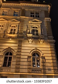 Novi Sad Serbia facade of old bulding night scenery