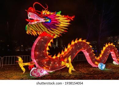 Novi Sad, Serbia - February 15,2021: Dragon at chinese lantern festival. Traditional Chinese Dragon parades at the Lunar New Year Festival in Novi Sad, Serbia.
