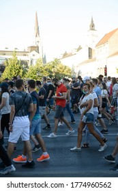 Novi Sad, Serbia, July 09 2020. Peaceful protests against the government during covid19 pandemic.
