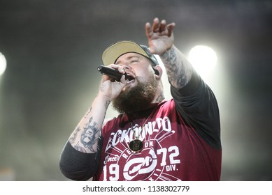 NOVI SAD, SERBIA - JULY 10, 2017: British singer-songwriter Rory Graham aka Rag'n'Bone Man performs live at Exit music festival in Petrovradin fortress in Novi Sad, Serbia on July 10, 2017