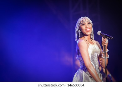 NOVI SAD, SERBIA - JULY 10: Folami from CHIC & Nile Rodgers performs at EXIT 2013 Music Festival, on July 10, 2013 at the Petrovaradin Fortress in Novi Sad, Serbia.
