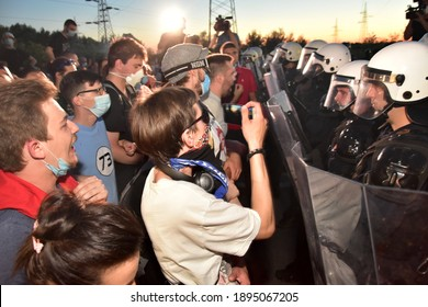 Novi Sad, Serbia, July 10 2020. Protesters demonstrated against the government during a covid - 19 pandemic, and TAX. association of online workers. Riots of protesters. Miran Pogacar